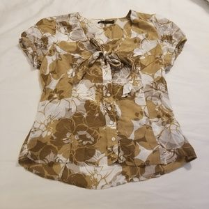 The Limited Brown Floral Button Down Blouse size M